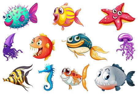 Conjunto de ilustración de criatura marina