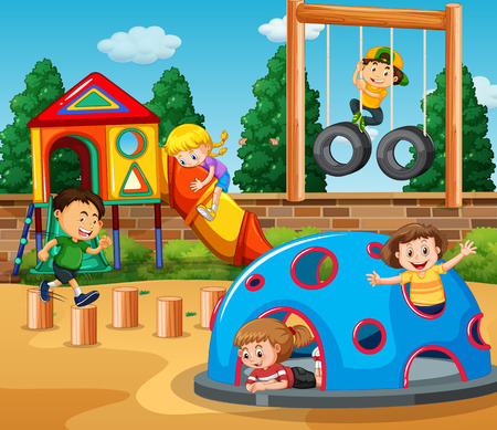 Children playing at playground illustration Ilustração