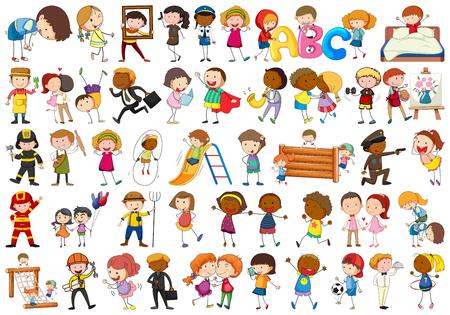Conjunto de ilustración de diferentes personajes simples