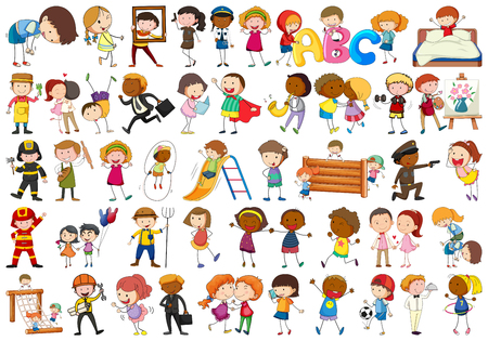 Set of different simple characters illustration