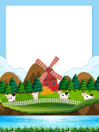 Cow farm border template illustration