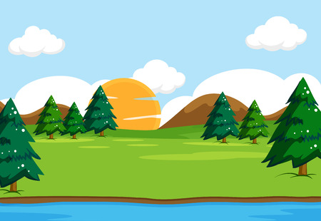 Outdoor nature background scene illustration