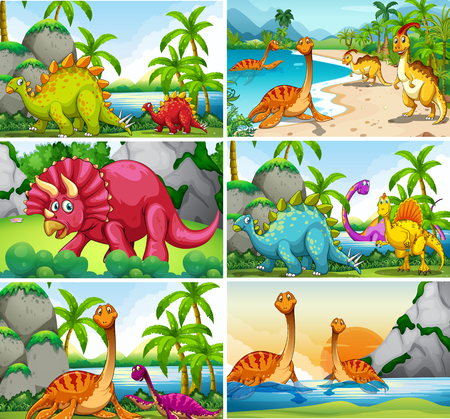 Set of dinosaur scenes illustration