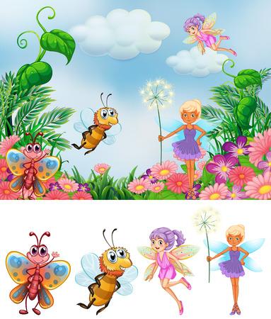 Fairy in nature background illustration Ilustración de vector
