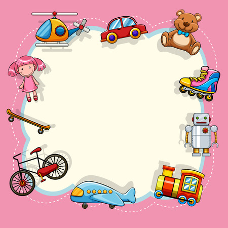 Pink frame with childrens toys illustration