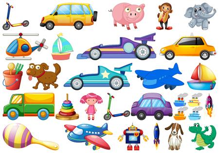 Satz Kinderspielzeugillustration