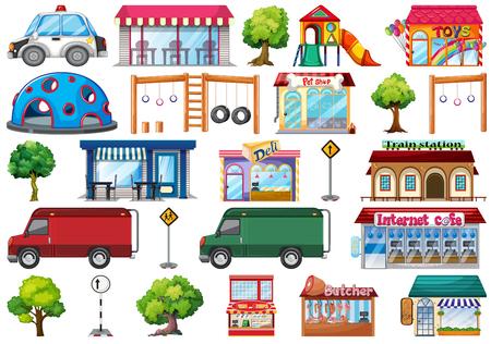 Set of city objects illustration Vecteurs