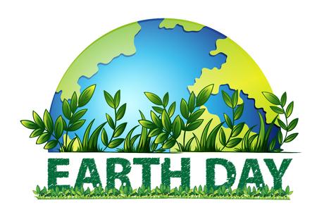 Aarde dag groene achtergrond afbeelding Vector Illustratie