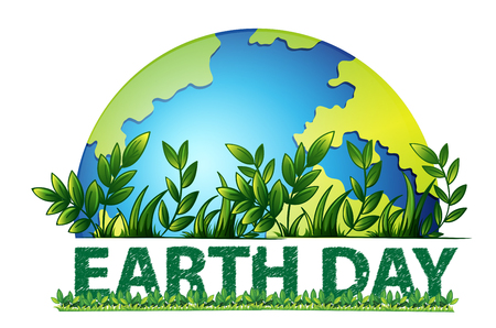 Earth day green background illustration
