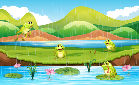 Frogs with pond scene illustration