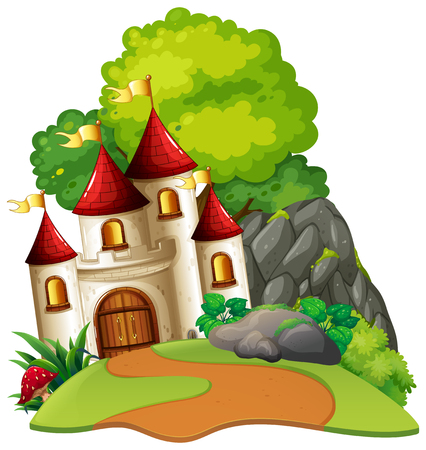 Castle in woods isolated scene illustration Stock Illustratie