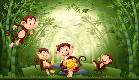 Monkeys in bamboo forest illustration