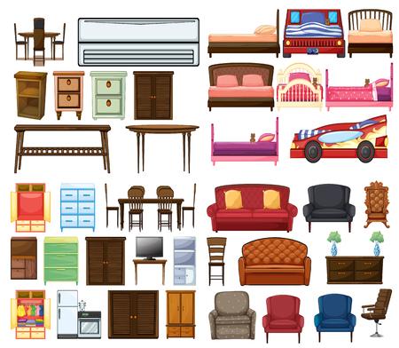 Conjunto de ilustración de objetos de mobiliario
