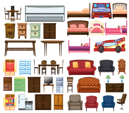 Set of funiture objects illustration Vectores