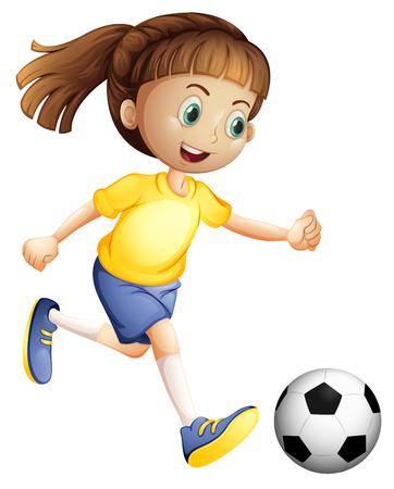 Een illustratie van een vrouwelijk voetbalkarakter
