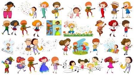 Set of kids and music illustration Stock Illustratie