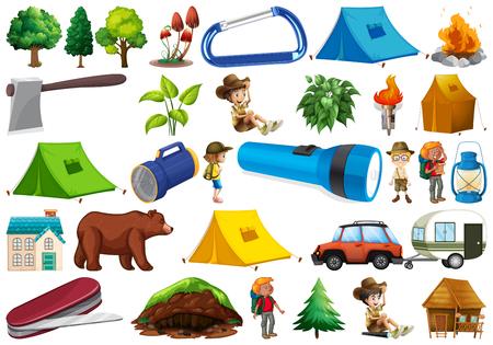 Set di illustrazione dell'elemento da campeggio Vettoriali