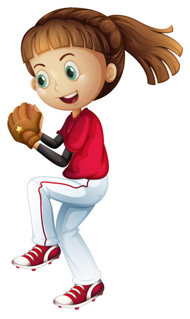 Girl playing baseball about to pitch illustration