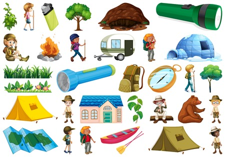 Set of caming objects illustration