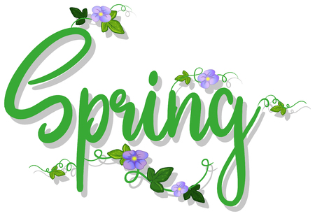 green spring text with flowers illustration Illustration