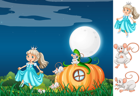 Princess with mouse at night illustration
