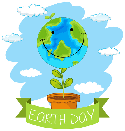 An earth day icon illustration