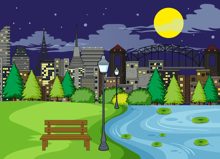 A park scene at night illustration