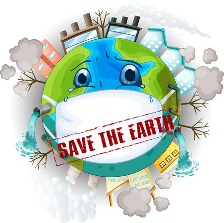 Save the earth logo illustration