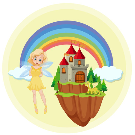 A fairy at the castle illustration