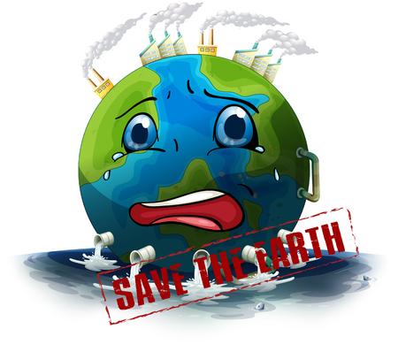 Save the earth icon illustration Ilustração