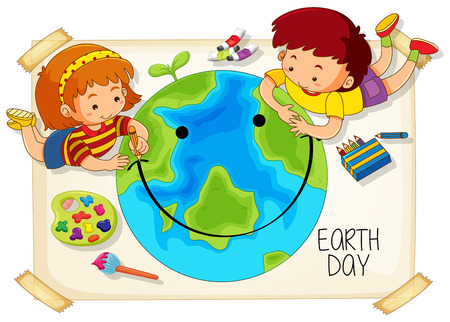 Children and earth day icon illustration