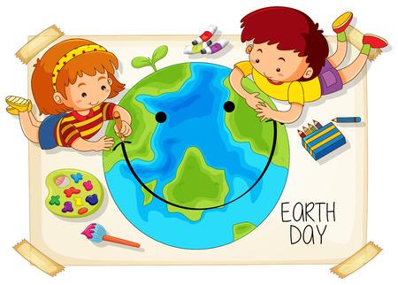 Ilustración de icono de niños y día de la tierra Ilustración de vector