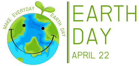 A happy earth icon illustration