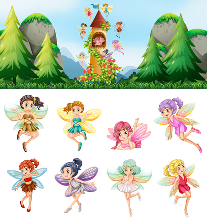 Set of fairies in nature illustration