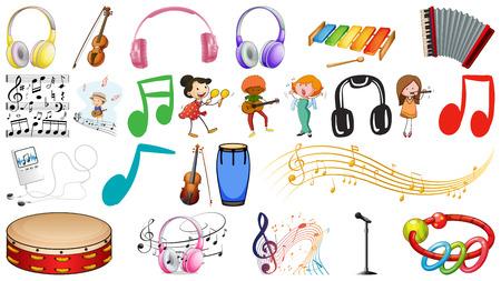 Set of music instruments  illustration Illustration