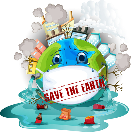 Save the earth icon illustration Ilustração