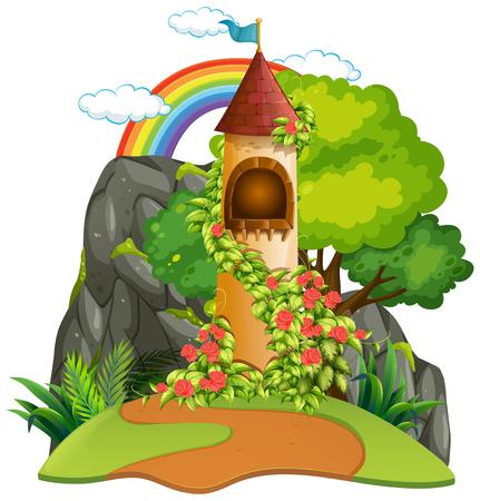 A castle tower background illustration Stock Illustratie
