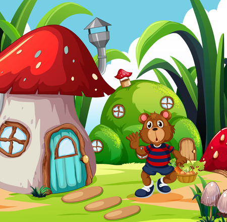 A bear with vegetable basket in fantasy land illustration