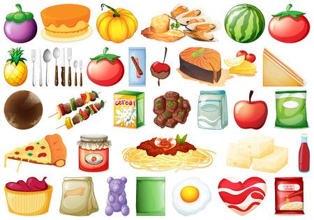 Zestaw wielu ilustracji jedzenia