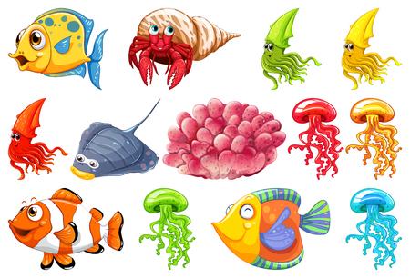 Set of sea creature illustration
