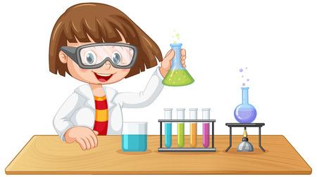 Una ilustración de personaje de niño de laboratorio