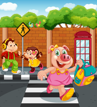 Cartoon animal character going to school illustration Ilustração