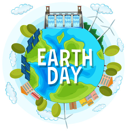 Save the planet earth day illustration