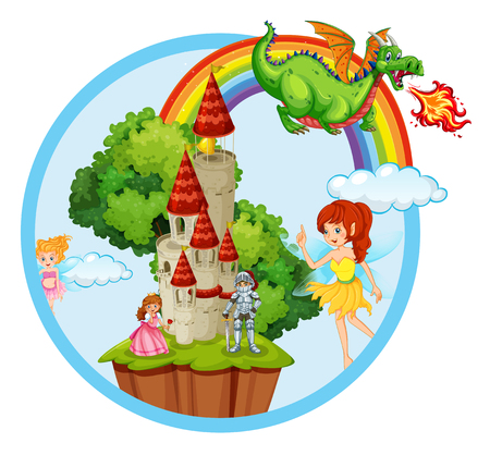 Fairy tale story scene illustration