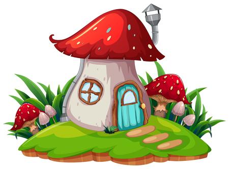 A fantasy mushroom house illustration