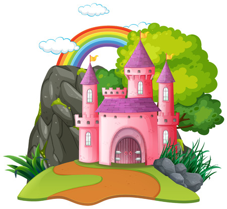 Isolated fantasy medieval castle illustration Illustration
