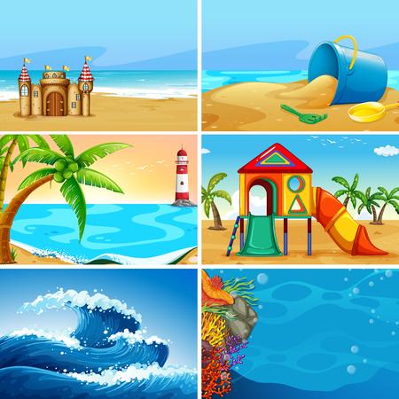 Conjunto de ilustración de paisaje de playa de verano