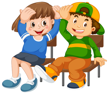 Boy and girl sit on the chair illustration Vetores