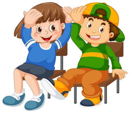 Niño y niña se sientan en la ilustración de la silla Ilustración de vector