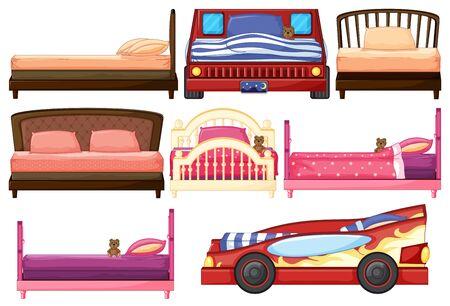 Set of children bed
